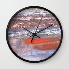 Blue orange marble wash drawing texture Wall Clock