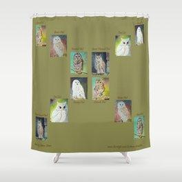 Six Owls Shower Curtain
