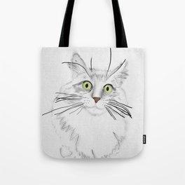 Green Eyed Greedy Cat Tote Bag