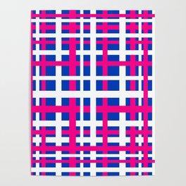 Blue & Pink Interlocking Stripes Poster