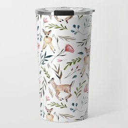 Deer and Leaves Pattern Travel Mug