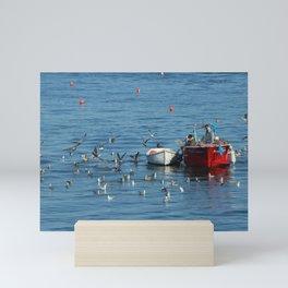 Fishing Boat Sea Seagulls Seascape Mini Art Print