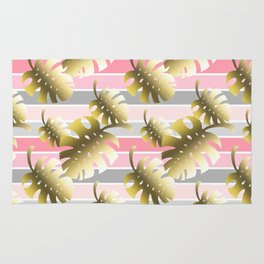 Tropical gold cheese leaves pastel color stripes Rug