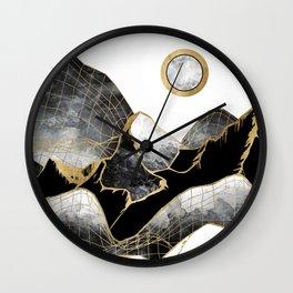 Minimal Black and Gold Mountains Wall Clock