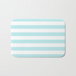 Turquoise Aqua Blue Stripe Horizontal Bath Mat