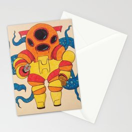 Red Scuba Diver Stationery Cards