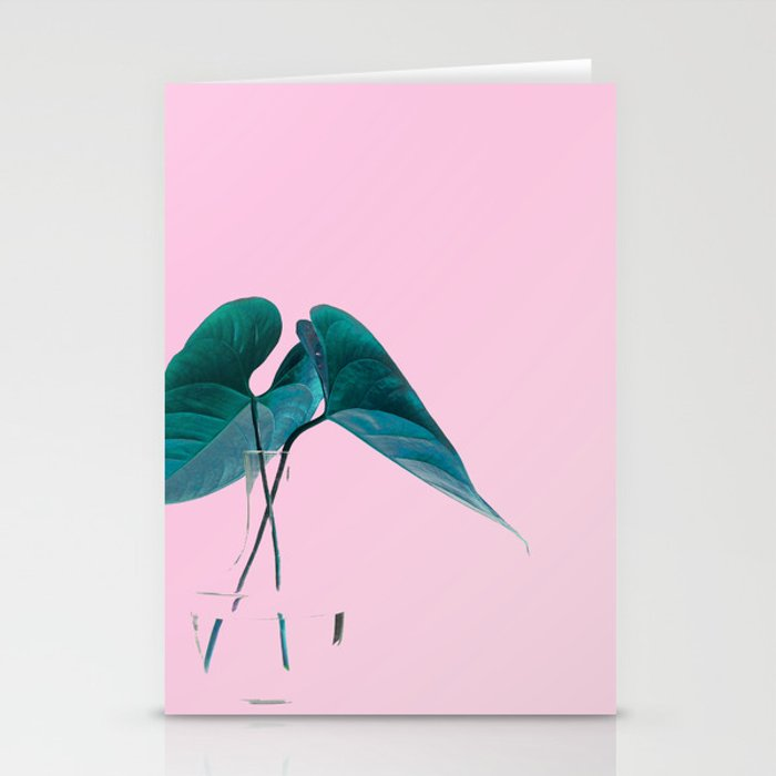 Pink Plant Stationery Cards