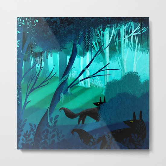 Shadow Wolves Stalk The Silver Wood Metal Print