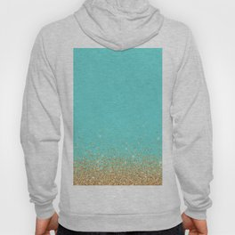 Sparkling gold glitter confetti on aqua teal damask background Hoody