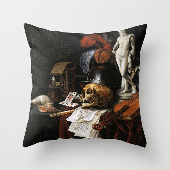 Vintage Vanitas- Still Life with Skull 3 Throw Pillow