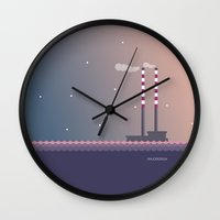 dublin Wall Clocks featuring Poolbeg Dublin by JINJODESIGN