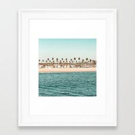Vintage Newport Beach Print {1 of 4} | Photography Ocean Palm Trees Teal Tropical Summer Sky Framed Art Print