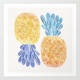 BFFs / Pineapple Watercolor Collage Art Print