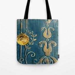 Original Art - A Piece of Versailles Blue & Gold Gilding Art Block Tote Bag