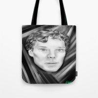 benedict cumberbatch Tote Bags featuring Benedict Cumberbatch by Cassandra Moonen