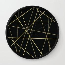 Golden lines on black Wall Clock