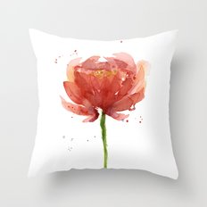 Red Flower Watercolor Floral Painting Throw Pillow