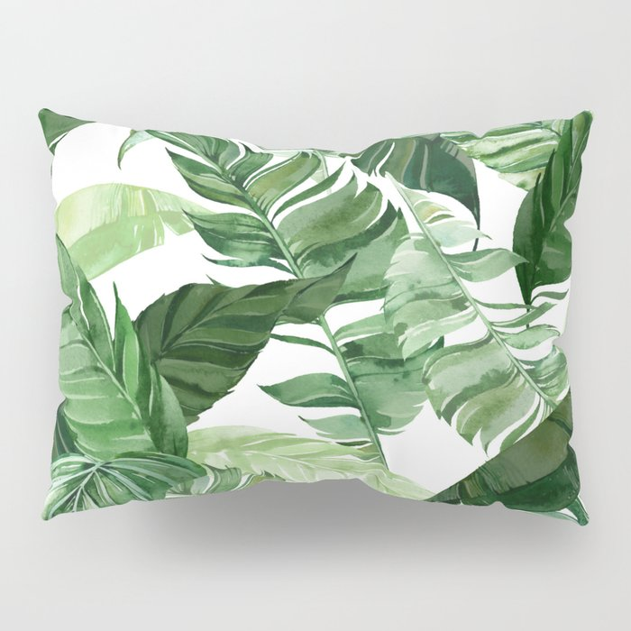 Green leaf watercolor pattern Pillow Sham