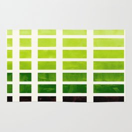 Sap Green Minimalist Mid Century Grid Pattern Staggered Square Matrix Watercolor Painting Rug