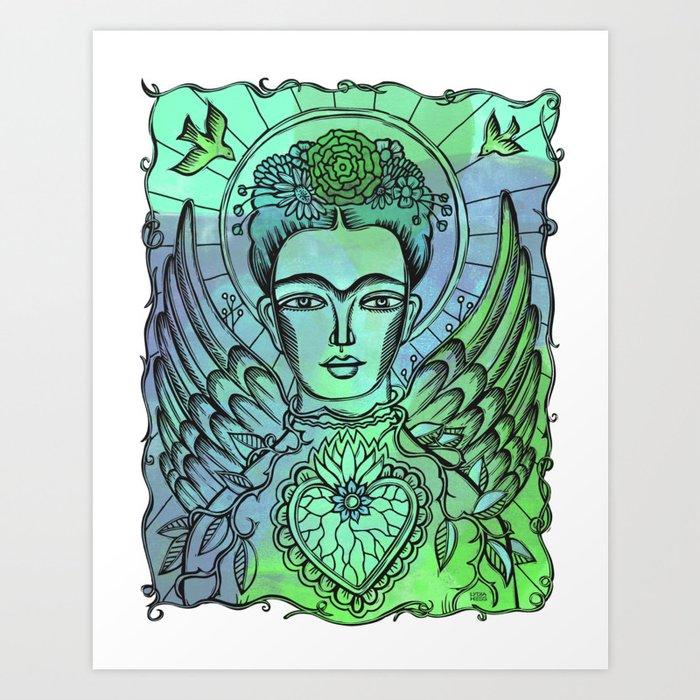 Frida Kahlo - monoprint-blue Art Print