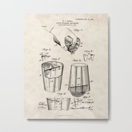 Liquid Strainer and Mixer Vintage Patent Hand Drawing Metal Print