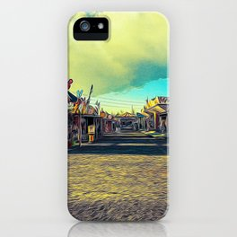 Rides and carousels in a Luna Park shortly before sunset in autumn iPhone Case