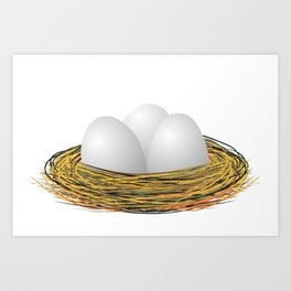 Eggs in the nest Art Print