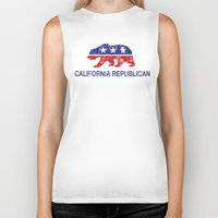 political Biker Tanks featuring California Political Republican Bear Distressed by Republican