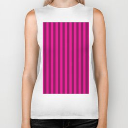 Hot Pink Stripes Pattern Biker Tank