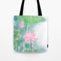 lotus flower Tote Bags featuring Lotus by marryweather