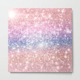 Pastel Galaxy Sparkle Stars Metal Print