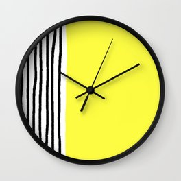 Stripes & Rays Of Sunshine Yellow Wall Clock