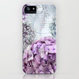 Purple Vintage Flower Hydrangea Hortensia Collage iPhone Case