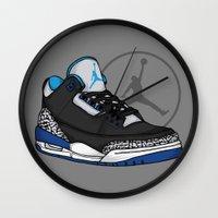 sport Wall Clocks featuring Jordan 3 (Sport Blue) by Pancho the Macho