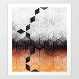 Ombre Concrete Cubes Art Print