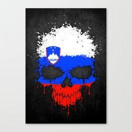 Flag of Slovenia on a Chaotic Splatter Skull Canvas Print