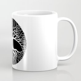 black and white tree of life with tangled roots and branches I Coffee Mug