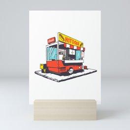Retro Hot Dog Stand Illustration Mini Art Print