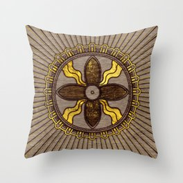 Seal of Shamash - Wood burned with gold accents Throw Pillow
