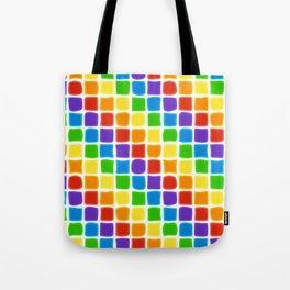 Rainbow Mosaic in Diagonal Stripes on White Tote Bag