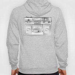 retro tape recorder illustration, cassette player drawing, 80s radio Hoody