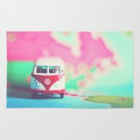 vw bus Area & Throw Rugs featuring Red & White VW Bus by Anna Dykema Photography