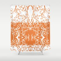 tote bag Shower Curtains featuring Orange and white swirl flourish summer Tote Bag by Moonlake Designs