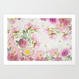 Pink Floral Drawing Art Print