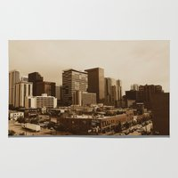 denver Area & Throw Rugs featuring Old Denver by Joseph Lee Photography