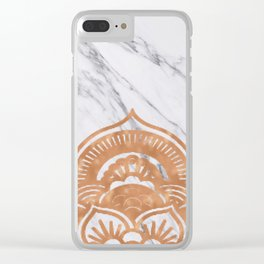 Copper mandala on marble Clear iPhone Case
