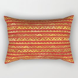 Geometric Lines Tribal  gold on red leather Rectangular Pillow