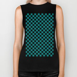 Black and Teal Green Checkerboard Biker Tank