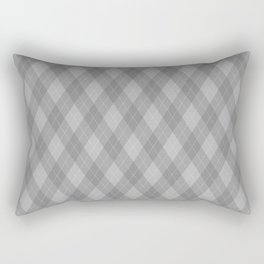 Argyle Fabric Pattern - Graphite Silver Gray / Grey Rectangular Pillow