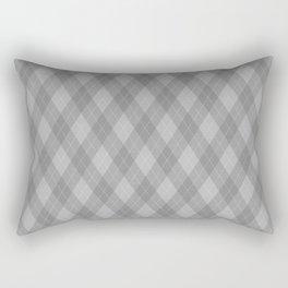 Argyle Fabric Pattern - Graphite Silver Gray / Grey Rectangular Pillow
